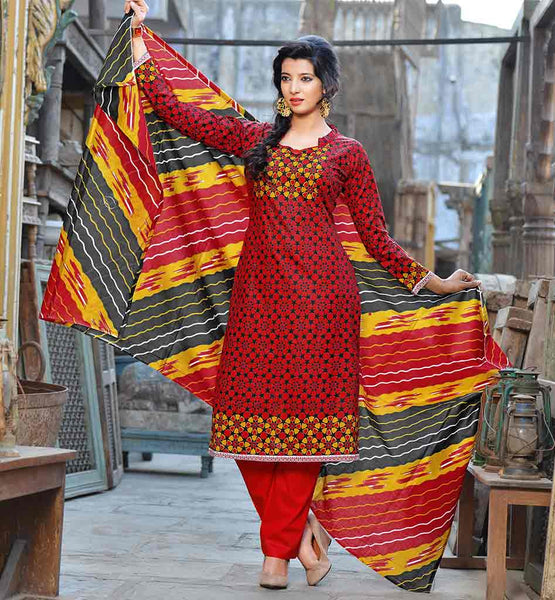 INDIAN DRESS DESIGNERS BEST COLLECTION SHALWAR KAMEEZ DESIGNS  SUITS FOR WOMEN  WONDERFUL PRINTED RED COTTON OUTFIT WITH RED TROUSER AND PRINTED SHAWL