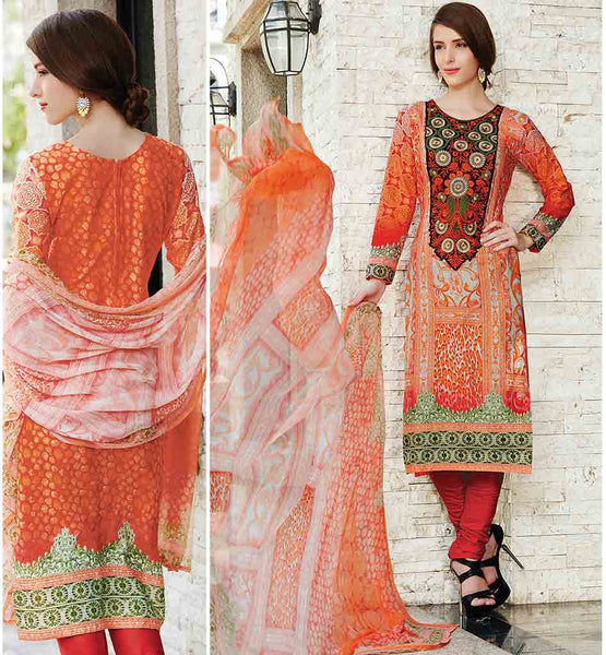 SALWAR SUITS SHOPPING IN INDIA PAY ON DELIVERY OUTSTANDING ORANGE DRESS WITH POLY COTTON SALWAR AND DUPATTA