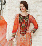 OUTSTANDING ORANGE DRESS WITH POLY COTTON SALWAR AND DUPATTA SMART EMBROIDERY WORK ON NECKLINE WITH SUPERB PRINT ON KAMEEZ AND ODHNI ENHANCES THE LOOK OF THE DRESS