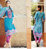 SALWAR KAMEEZ SHOPPING WITH CASH ON DELIVERY PLEASING SKY BLUE DRESS WITH CONTRAST POLY COTTON SALWAR AND DUPATTA
