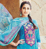 PLEASING SKY BLUE DRESS WITH CONTRAST POLY COTTON SALWAR AND DUPATTA SAVVY WEAVING CHIP AWAY AT NECK AREA WITH EMINENT PRINT ON KAMEEZ AND ODHNI UPGRADES THE LOOK OF THE DRESS