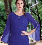 Blue salwar kameez for women with full sleeve