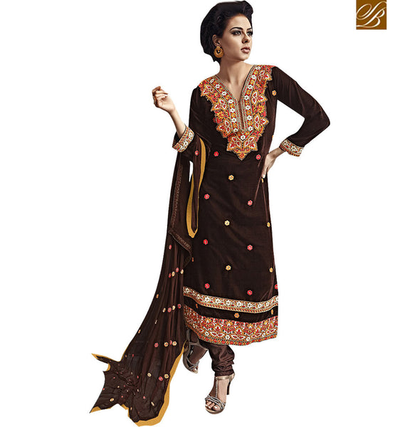 SPECTACULAR BROWN DESIGNER SALWAR SUIT VDKAS1002 BY STYLISH BAZAAR