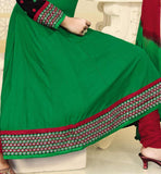 GREEN COTTON ANARKALI DRESS RTSMY1002