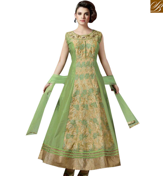 STYLISH BAZAAR WONDERFUL GREEN SILK DESIGNER ANARKALI SALWAR KAMEEZ WITH HAND WORK ON THE TOP SLMKT1002