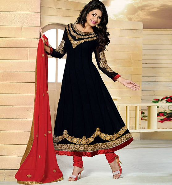 BLACK GEORGETTE ANARKALI WITH DUPATTA