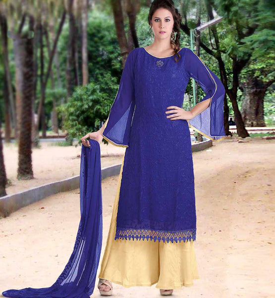 Outstanding Blue long kameez with brown plazzo salwar