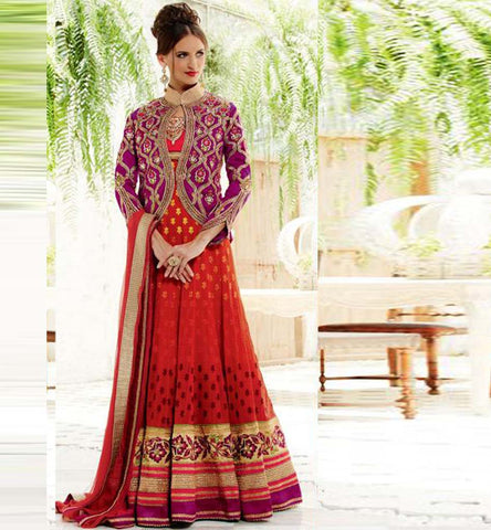 Kimora Fashions Surat Volume 10 Red  Jacket Wedding Anarkali Dress 1002 Stylishbazaar