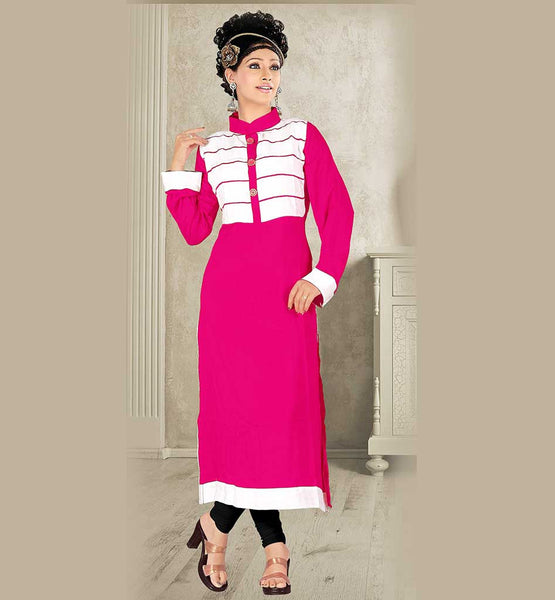 BEAUTIFULLY DESIGNED WOMEN'S DESIGNER KNEE HEIGHT MALAY COTTON KURTI