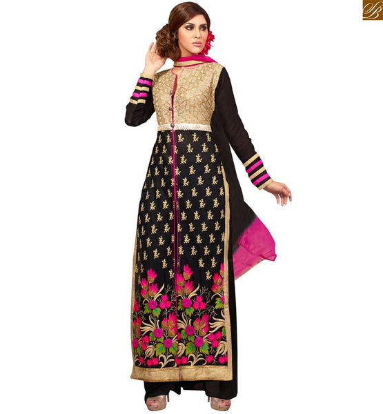 Photo of Floor length kameez shalwar design of latest fashion dress black faux-georgette multi-color heavy embroidered salwar kameez with black santoon bottom