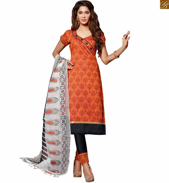 Indian salwar kameez 2015 formal dress patterns best collection orange chanderi-cotton amazing piping patch work at neck line on dress with button and black cotton bottom Iamge