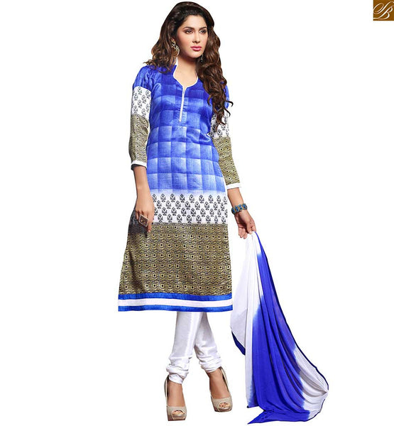 Latest salwar designs paired with pakistani kurta office wear blue, off-white and beige bhagalpuri-silk different cut neck style salwar kameez with piping work Image
