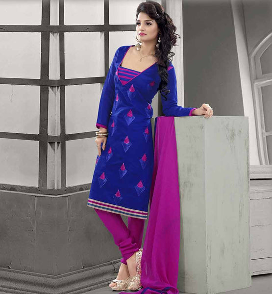 SHALWAR KAMEEZ DESIGNS OF BOLLYWOOD FASHION CHANDERI COTTON BLUE STRAIGHT CUT SUIT WITH SALWAR AND CHIFFON DUPATTA