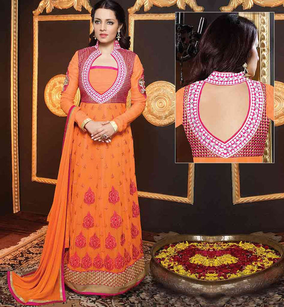 SHALWAR KAMEEZ DESIGNS OF TRADITIONAL INDIAN CLOTHES INSPIRED FROM BOLLYWOOD FASHION ELINA JAITLEY STYLE ORANGE GEORGETTE ANARKALI WITH SANTOON SALWAR AND CHIFFON DUPATTA