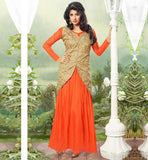 TOASTY FROM SAAS BIN SASURAL IN ORANGE LONG JACKET LOOK GOWN