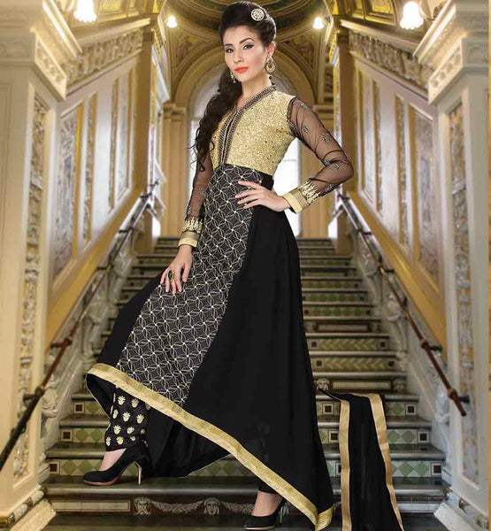 INDIAN DRESS SALWAR KAMEEZ ASYMMETRIC PATTERN BLACK FAUX GEORGETTE TOP WITH EMBROIDERY WORK AND CONTRAST YOKE PATCH