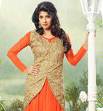 AISHWARYA SAKHUJA (TOASTY) IN ORANGE  KOTI STYLE NET FABRIC GOWN