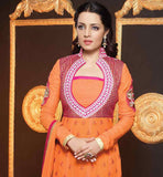 CELINA JAITLEY STYLE ORANGE GEORGETTE ANARKALI WITH SANTOON SALWAR AND CHIFFON DUPATTA EYE-CATCHING NECKLINE WITH EMBROIDERY WORK AND ROUNDED BUTTA DESIGNS ALL ALONG