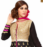 Image of New collection floor length kameez shalwar design of latest fashion dress online shopping black faux-georgette multi-color heavy embroidered salwar kameez with black santoon bottom