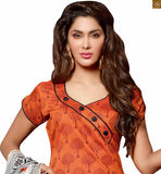 New trendy indian salwar kameez 2015 that is a perfect style of formal dress patterns best collection orange chanderi-cotton amazing piping patch work at neck line on dress with button and black cotton bottom Photo