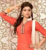 PEPPY PINK KURTI WITH ORANGE EMBROIDERED PATIALA SALWAR & NAZNEEN DUPATTA