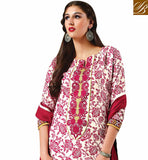 CLASSIC-CREAM-COTTON-TOP-WITH-PINK-SALWAR-AND-MAROON-CHIFFON-DUPATTA--SUPERB-FLORAL-PRINT-WORK-ALL-OVER-THE-TOP-AND-EXCITING-EMBROIDERY-DESIGN-ON-NECKLINE