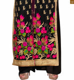 Image of Black faux-georgette multi-color heavy embroidered salwar kameez with black santoon bottom