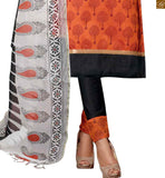 Orange chanderi-cotton amazing piping patch work at neck line on dress with button and black cotton bottom Pic