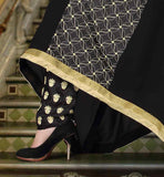 SANTOON EMBROIDERED SALWAR WITH NAZNEEN LACE BORDER DUPATTA INDIAN DRESS SALWAR KAMEEZ ASYMMETRIC PATTERN