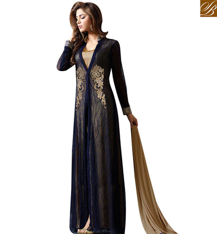 STYLISH BAZAAR GOLD AND NAVY BLUE DESIGNER DRESS WITH MARVELLOUS STYLE SLMUG10030