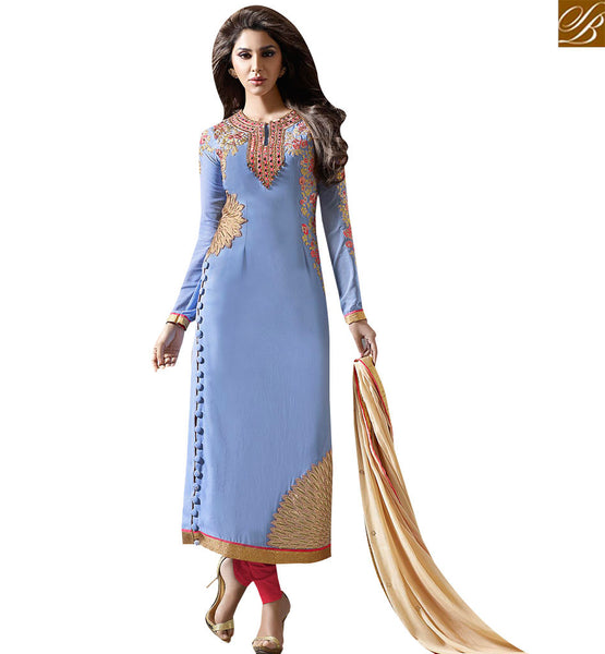 STYLISH BAZAAR SKY BLUE LUXURIOUS EMBROIDERED SALWAR KAMEEZ WITH ATTRACTIVE STYLE SLMUG10031