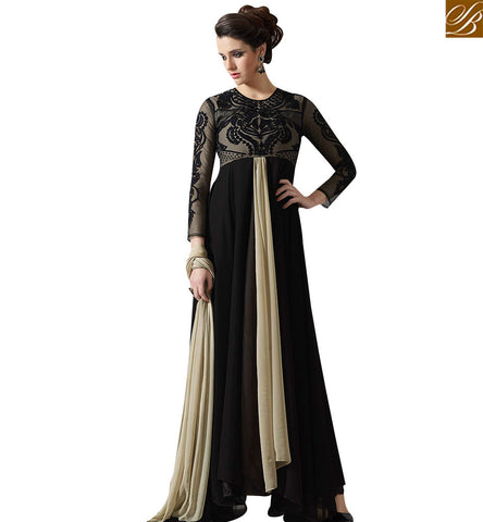 STYLISH BAZAAR DELIGHTFUL BLACK AND CREAM DESIGNER GOWN STYLE DRESS SLMUG10032