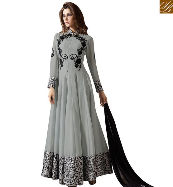 STYLISH BAZAAR GOOD LOOKING GREY COLOUR ANARKALI SUIT WITH BLACK EMBROIDERY SLMUG10033