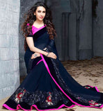 INDIAN MOVIE CELEBRITY SAREES ONLINE SHOPPING  KARISMA KAPOOR PREMIUM BLUE COLOR GEORGETTE  SARI WITH PINK BLOUSE