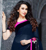 KARISMA KAPOOR PREMIUM BLUE COLOR GEORGETTE  SARI WITH PINK BLOUSE BE THE SHOW-STOPPER BY WEARING THIS BEAUTIFUL CELEBRITY KARISHMA  KAPOOR  SARI ENRICHED WITH ZARI, RESHAM EMBROIDERY, PATCH BUTTA, STONE WORK AND LACE BORDER
