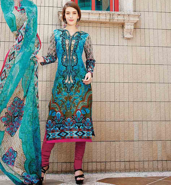 SALWAR KAMEEZ ONLINE SHOPPING AT LOWEST PRICE BEAUTIFUL BLUE PURE COTTON SUIT WITH CONTRAST SALWAR AND LOVELY DUPATTA