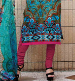 STUNNING EMBROIDERED NECKLINE WITH LOVELY PRINT WORK ON KAMEEZ POLY COTTON BOTTOM AND PRINTED PURE BAMBERG ODHNI SALWAR KAMEEZ ONLINE SHOPPING AT LOWEST PRICE