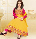 EXCITING YELLOW COTTON ANARKALI SALWAR KAMEEZ DRESS WITH DUPATTA RTSMY1003