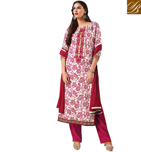 PAKISTANI-BOUTIQUES-BEST-DRESSES-COLLECTION-OF-SHALWAR-KAMEEZ-DESIGNS-FIR-STYLIST-GIRLS-CLASSIC-CREAM-COTTON-TOP-WITH-PINK-SALWAR-AND-MAROON-CHIFFON-DUPATTA