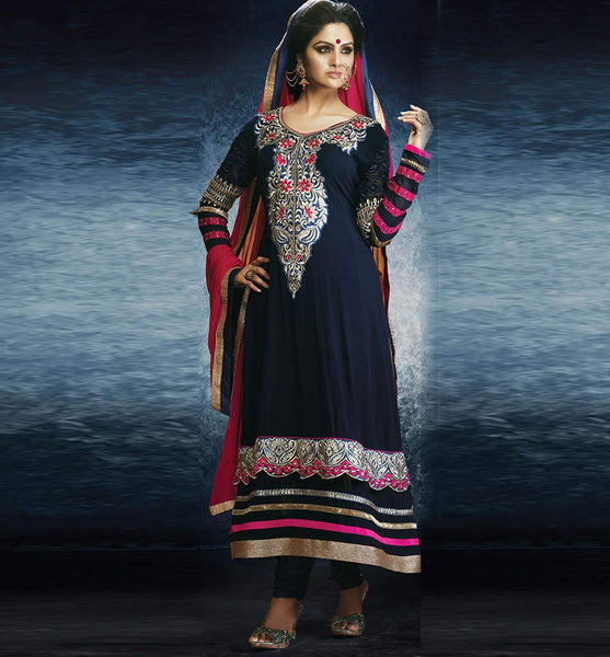 BLUE PARTY WEAR GEORGETTE ANARKALI WITH CHIFFON DUPATTA BY STYLISHBAZAAR ONLINE SHOPPING WEBSITE