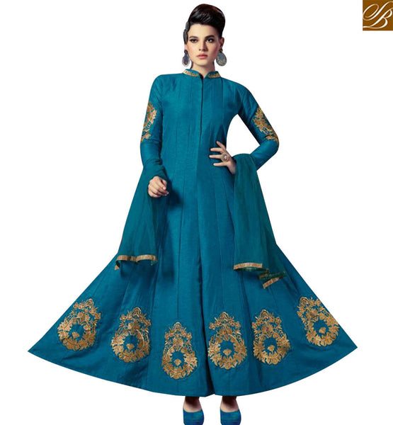 STYLISH BAZAAR BUY BLUE SILK DESIGNER ANARKALI SALWAR KAMEEZ WITH FULL SLEEVES AND EMBROIDERY WORK SLMKT1003