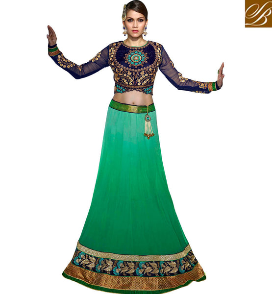 wedding wear Blue Choli with green Chaniya