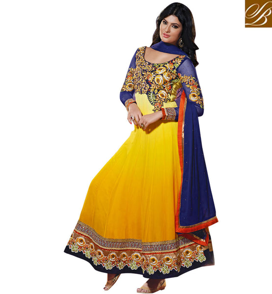 BOLLYWOOD CELEBRITY SAYALI BHAGAT YELLOW DESIGNER ANARKALI DRESS