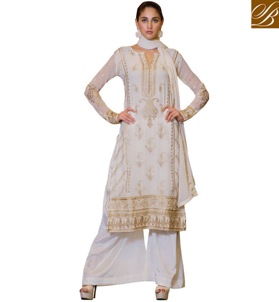 PUNJABI SUITS 2015 PARTY WEAR SALWAR KAMEEZ PALLAZO PANT STYLE SUITS OFF-WHITE GEORGETTE SUIT WITH MATCHING SANTOON SALWAR AND LUXURIOUS CHIFFON DUPATTA