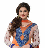 OUT-STANDING ORANGE COLOR ZAREEN KHAN ANARKALI SUIT RTZA1003 - StylishBazaar - Zarine Khan, Zareen Khan, Bollywood Salwar Kameez, Bollywood Anarkali Suits, bollywood replica Anarkai online, bollywood original Salwar Kameez, bollywood designer Salwar Kameez online, buy bollywood replica Salwar Kameez