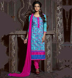 DESIGNS OF BEST INDIAN FROCKS 2015 WOMEN DRESS SKY-BLUE CHANDERI COTTON TOP WITH PINK SANTOON BOTTOM AND NAZNEEN ODHNI