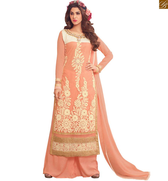 Image of Indian salwar kameez 2015 long dress palazzo suits for girls light-orange faux-georgette dress on stone patch work at neck line and matching santoon bottom