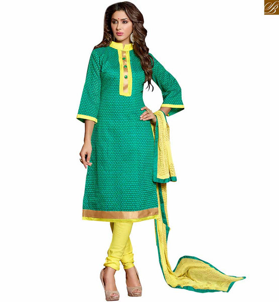 Kameez neck designs of stylish new salwar suit for ladies wear green chanderi-cotton abstract printed salwar kameez with border work and yellow cotton bottom Image