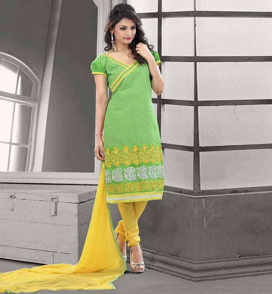 SHALWAR KAMEEZ BOLLYWOOD LOOK FOR MODERN LADIES CHANDERI COTTON GREEN STRAIGHT CUT SUIT WITH YELLOW SALWAR AND CHIFFON DUPATTA