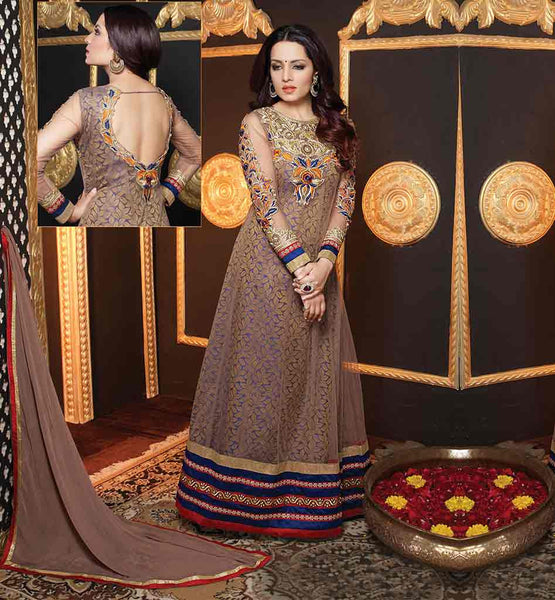 SHALWAR KAMEEZ DESIGNS BY KNOWN INDIAN DESIGNERS  BOLLYWOOD STYLE FASHION DRESS DESIGNER NET CELINA JAITLEY STYLE CHIKOO ANARKALI WITH MATCHING SALWAR AND CHIFFON DUPATTA
